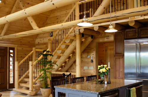 Log and timber stairways