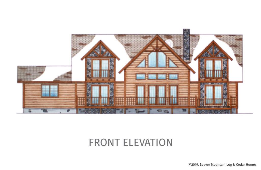 Bass Cedar Timber Frame Floorplan Front Elevation