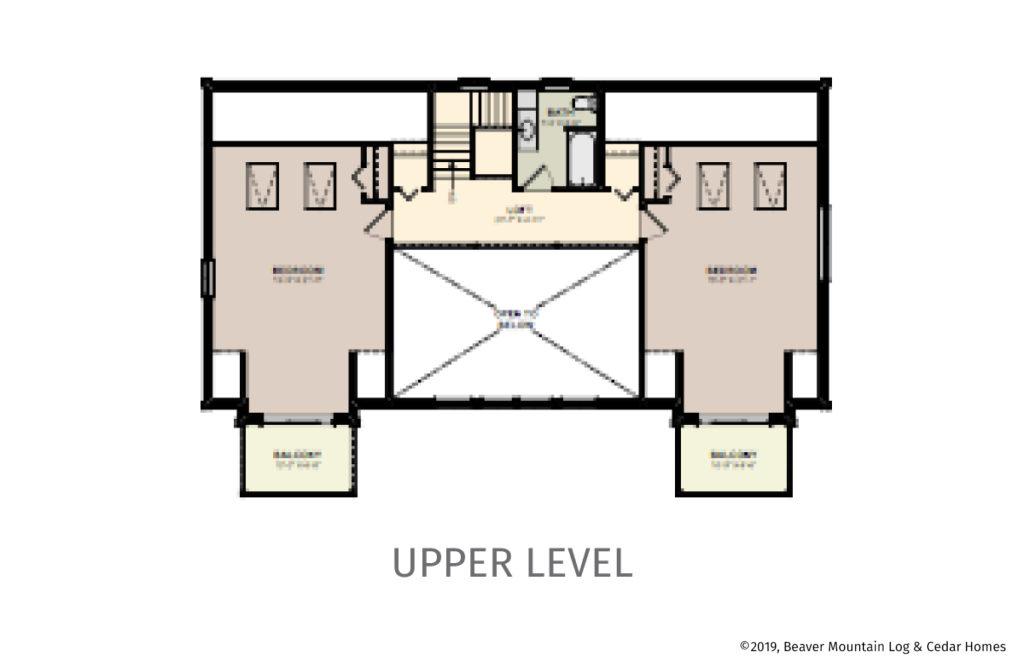 Bass Cedar Timber Frame Upper Level Floorplan