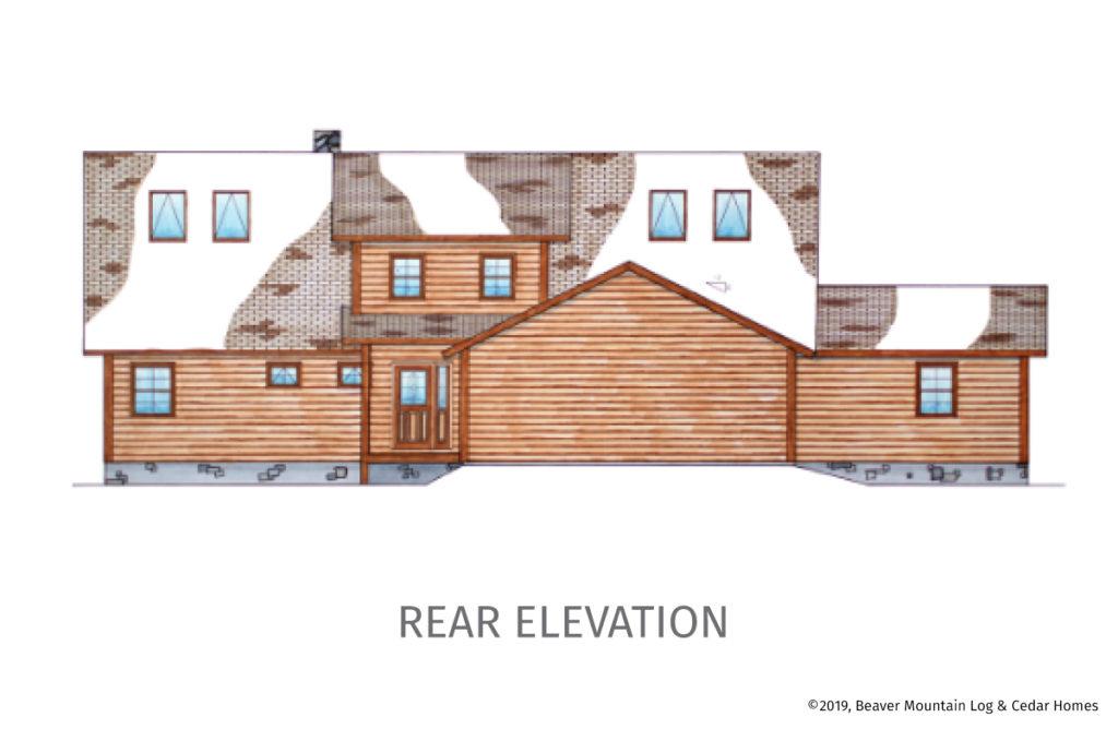 Bass Cedar Timber Frame Floorplan Rear Elevation