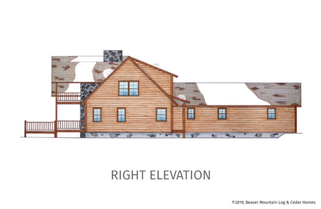 Bass Cedar Timber Frame Floorplan Right Elevation