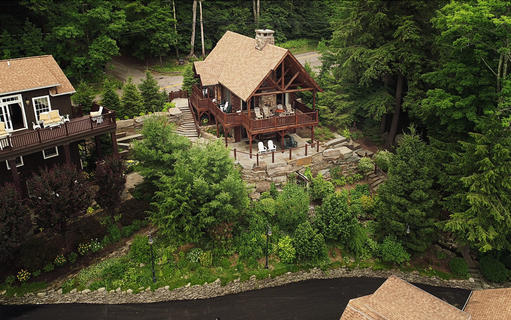 Beaver Mountain Log Homes Owls Club Home Setting View From Over Lake