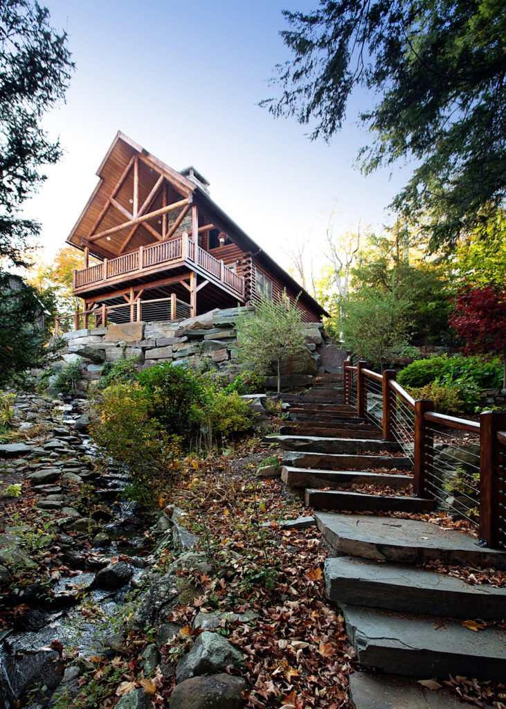 Beaver Mountain Log Homes Owls Club Stone Stairway