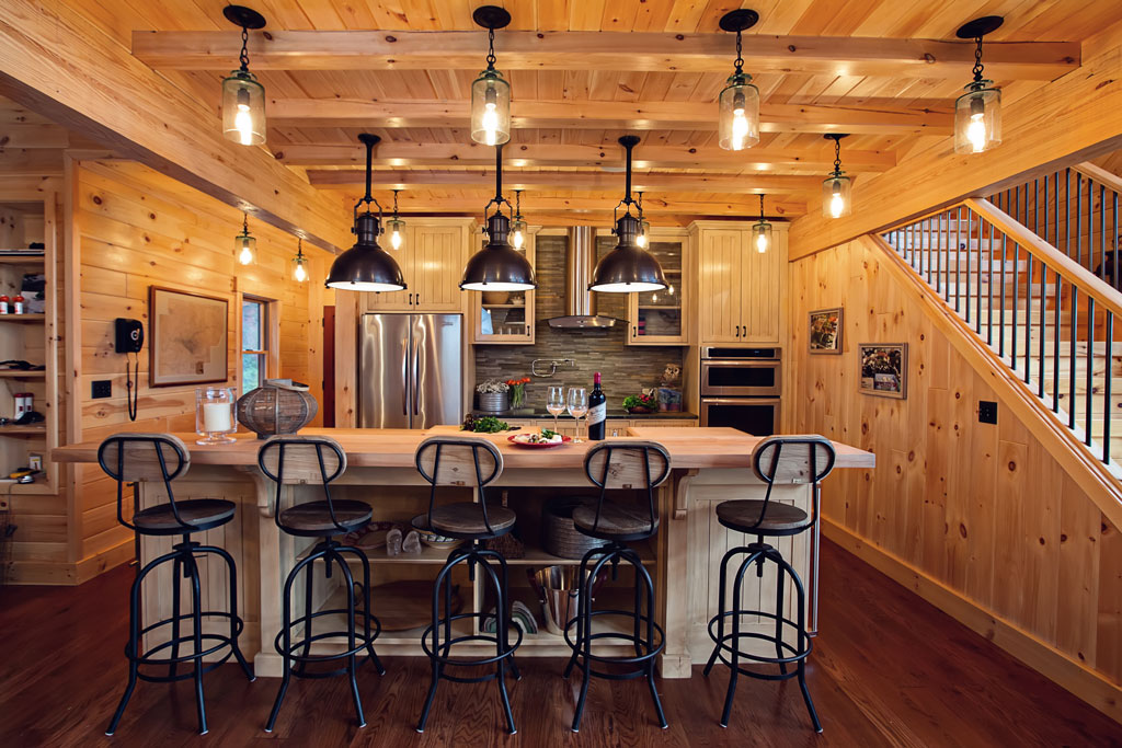 Beaver Mountain Log Homes Country Cubco Red Cedar Timber Home Custom Kitchen