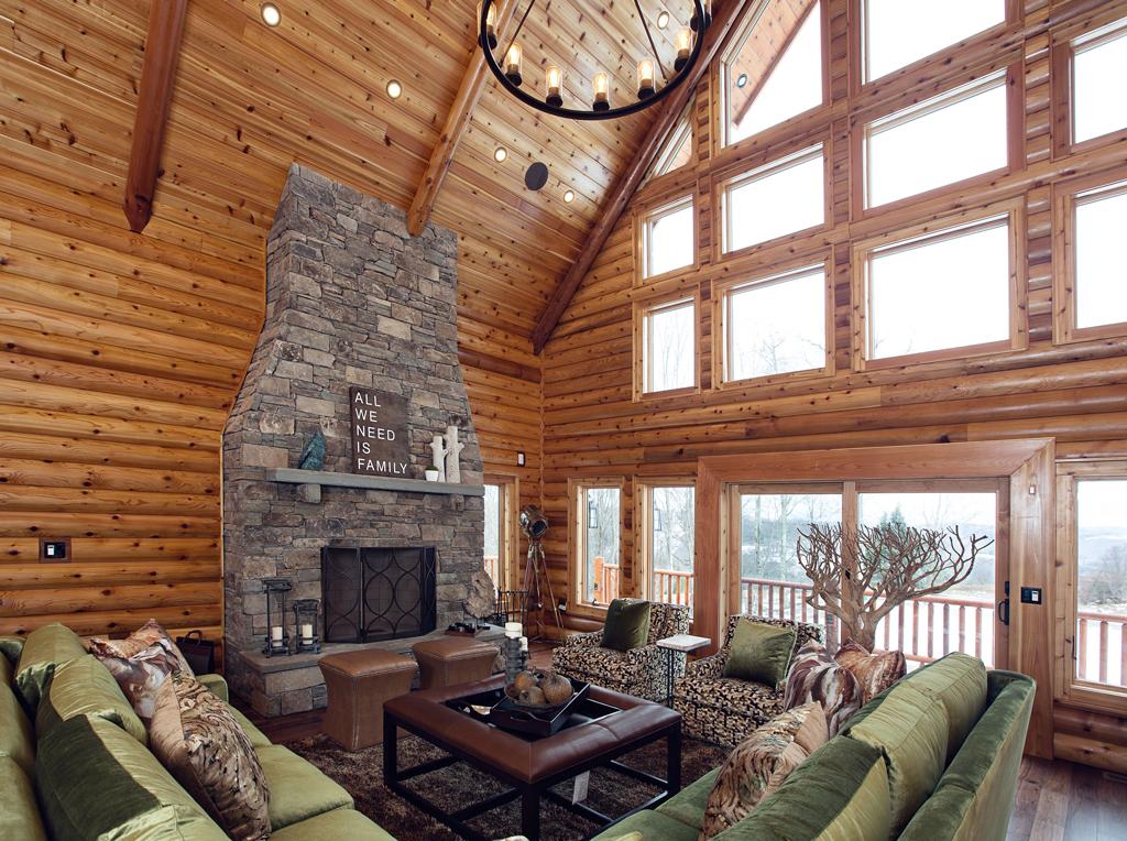 Beaver Mountain Log Homes Cedar Crest Cabin Fireplace