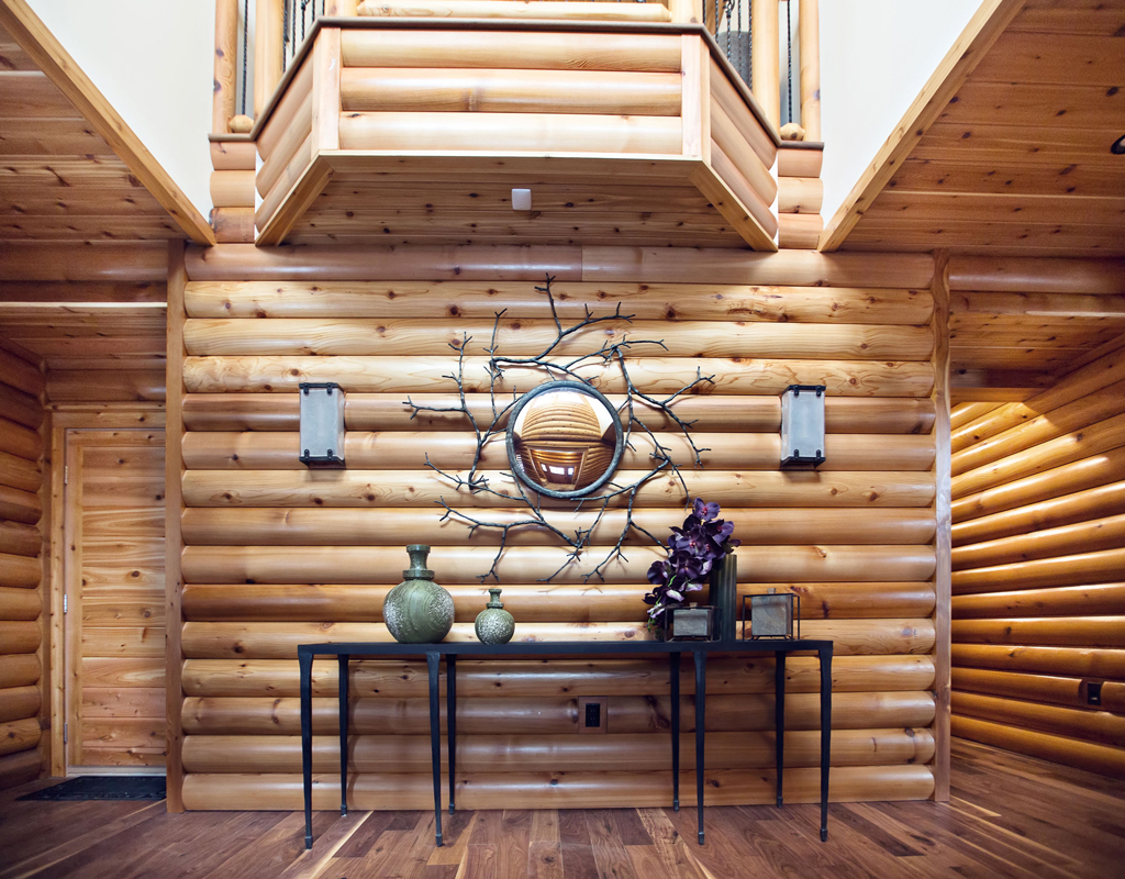 Beaver Mountain Log Homes Cedar Crest Cabin Foyer