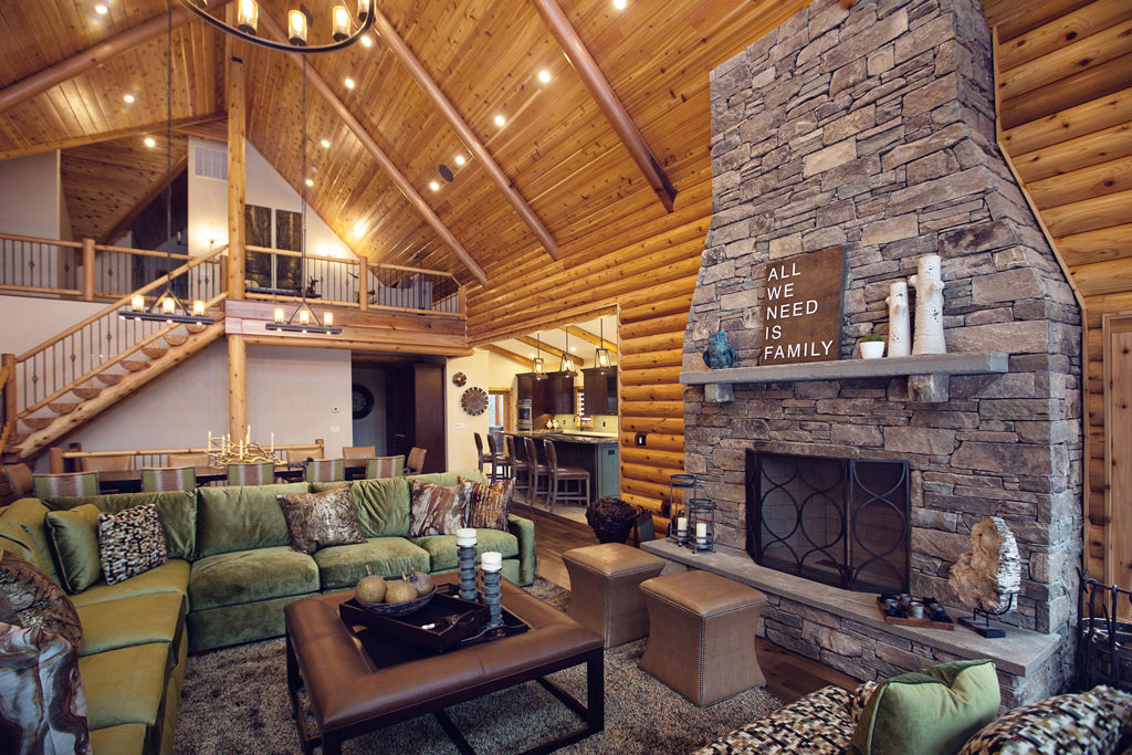 Cedar Crest Cabin Cedar Log Home Livingroom Fireplace
