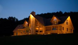 Beaver Mountain Log Homes Grandview Model Exterior Night