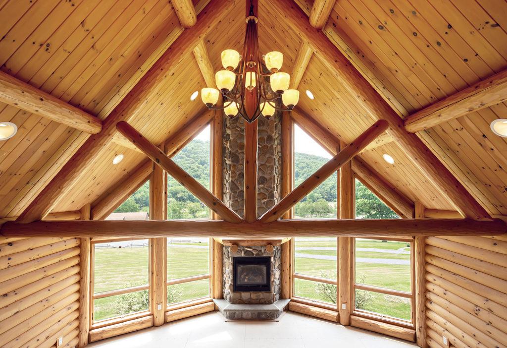 Beaver Mountain Log Homes Grandview Model Home Timber Trusses Great Room
