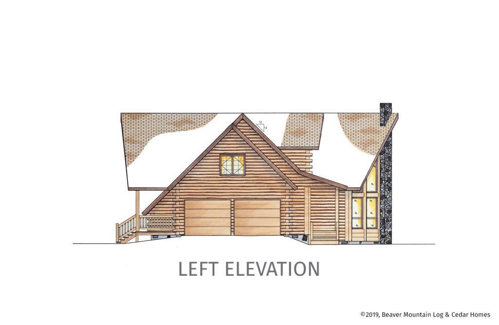Grandview Log Home Left Elevation