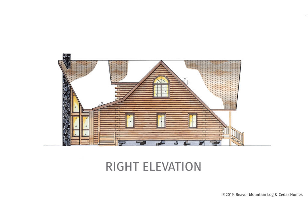 Grandview Log Home Right Elevation