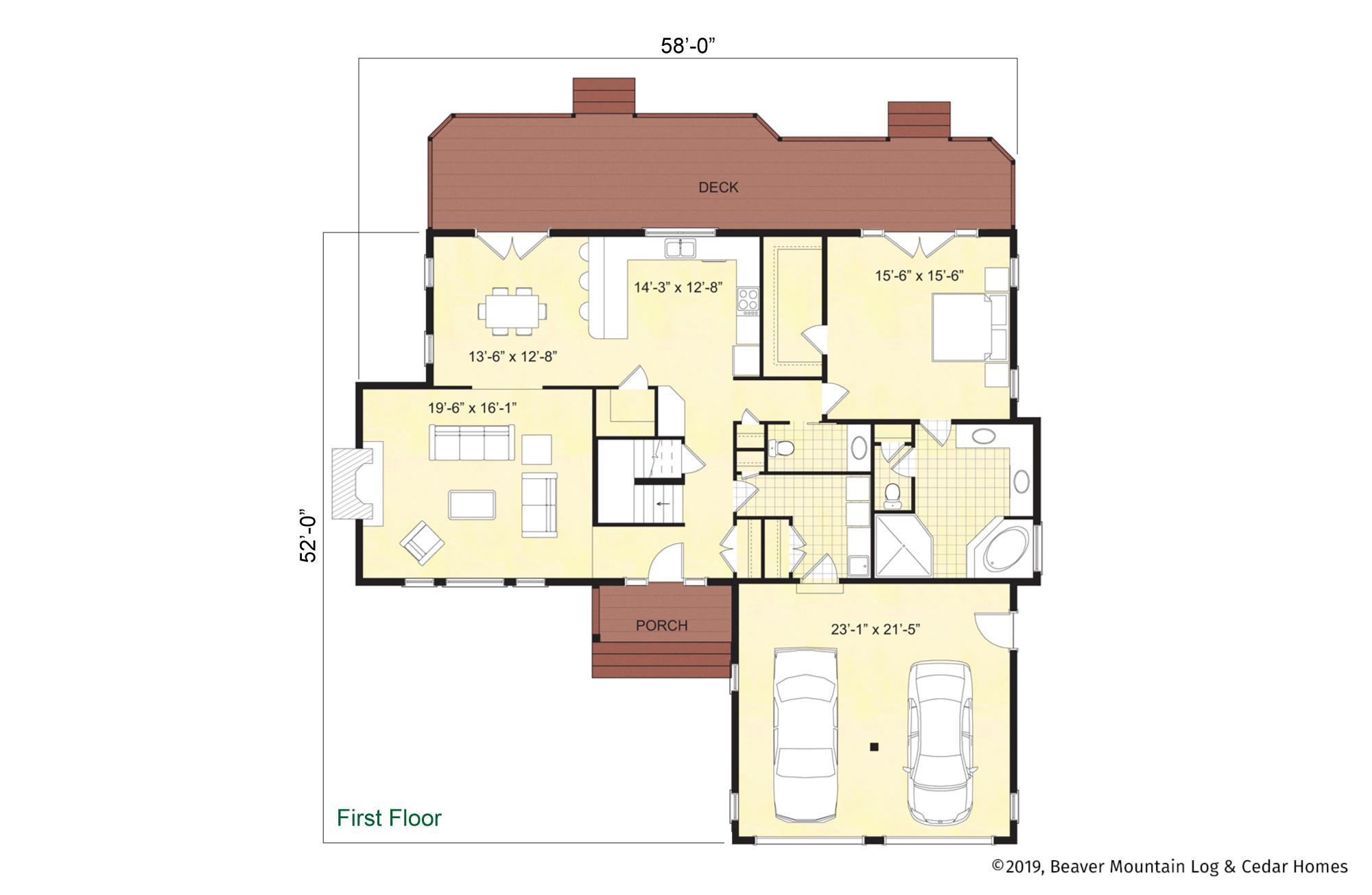 Beaver Mountain Log Homes Adirondack Main Level Floor Plan