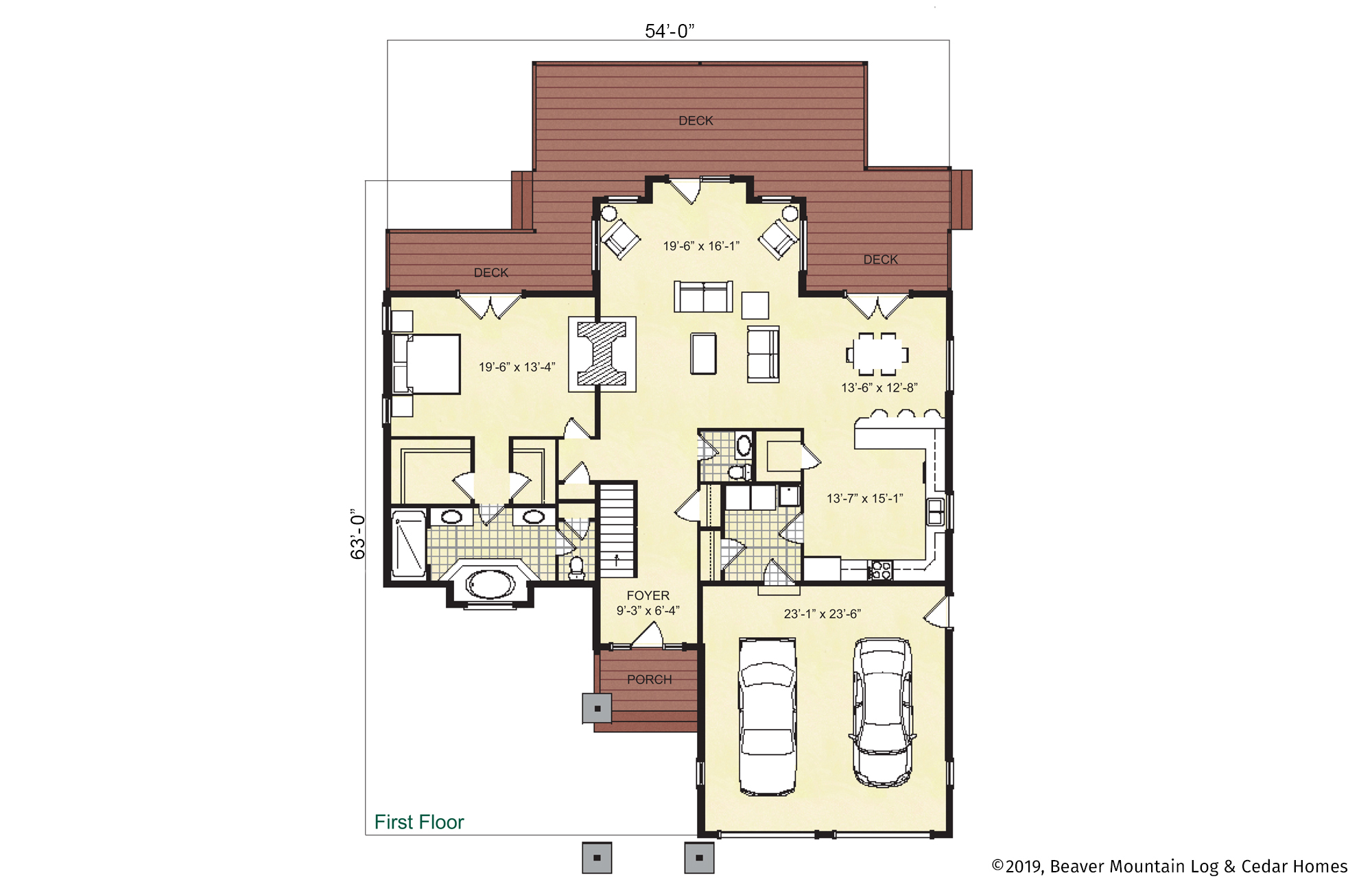Beaver Mountain Log Homes Bellayre Timber Frame Home Main Level Floor Plan