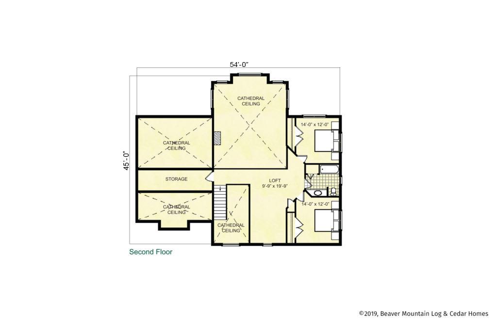 Beaver Mountain Log Homes Bellayre Timber Frame Home Upper Level Floor Plan