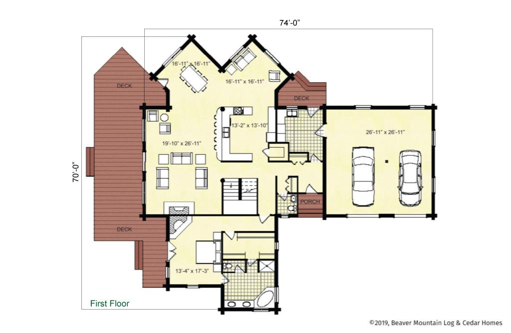 Beaver Mountain Log Homes Cannonsville Main Level Floor Plan