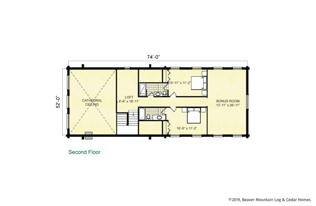 Beaver Mountain Log Homes Cannonsville Upper Level Floor Plan