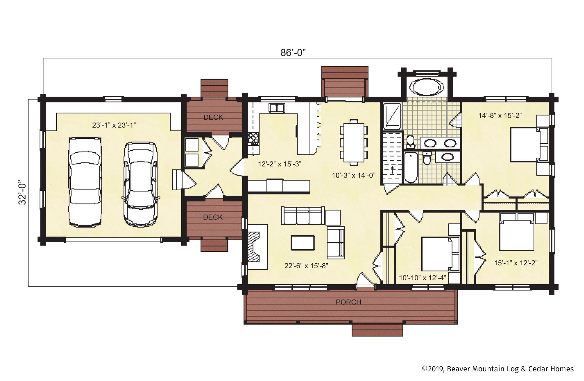Beaver Mountain Log Homes Canterbury Floor Plan