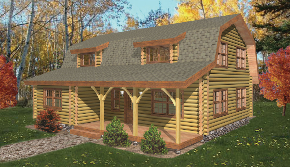 Cochecton Log Home Classic Front Elevation