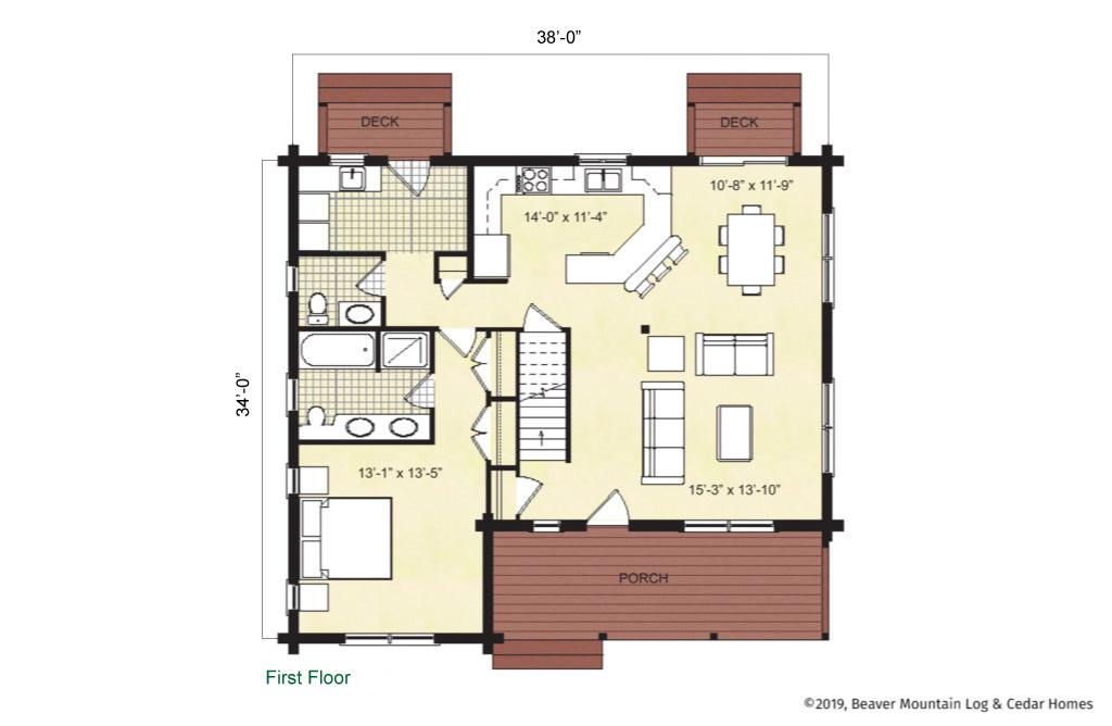Beaver Mountain Log Homes Cochecton Main Level Floor Plan