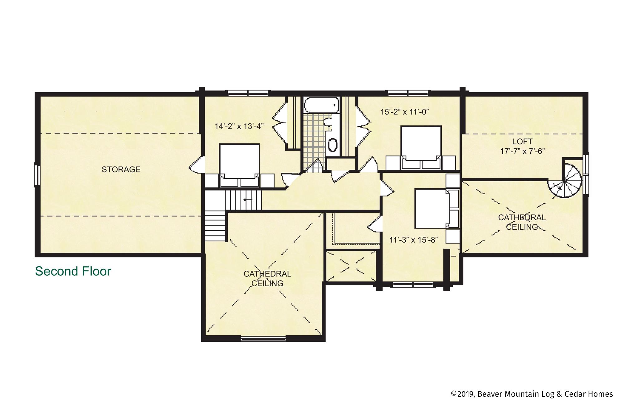 Beaver Mountain Log Homes Covington Upper Level Floor Plan