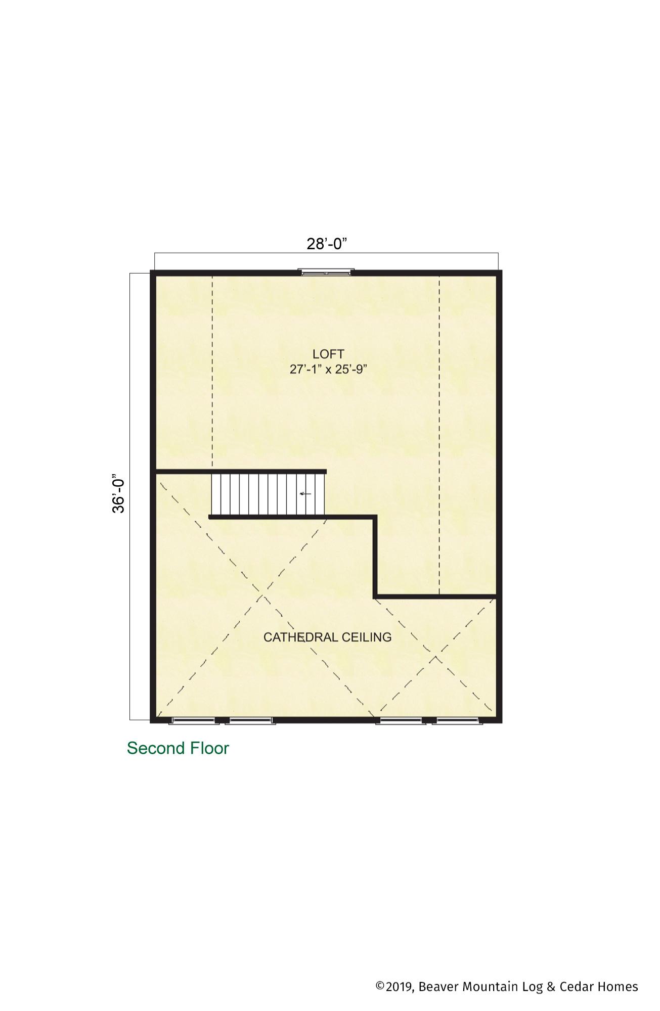 Beaver Mountain Log Homes Coxsackie Timber's Home Upper Level Floor Plan