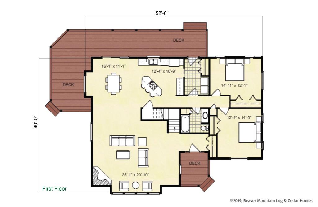 Beaver Mountain Log Homes Eagle Point Main Level Floor Plan