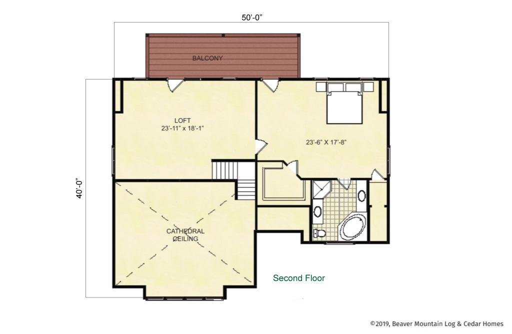 Beaver Mountain Log Homes Eagle Point Upper Level Floor Plan