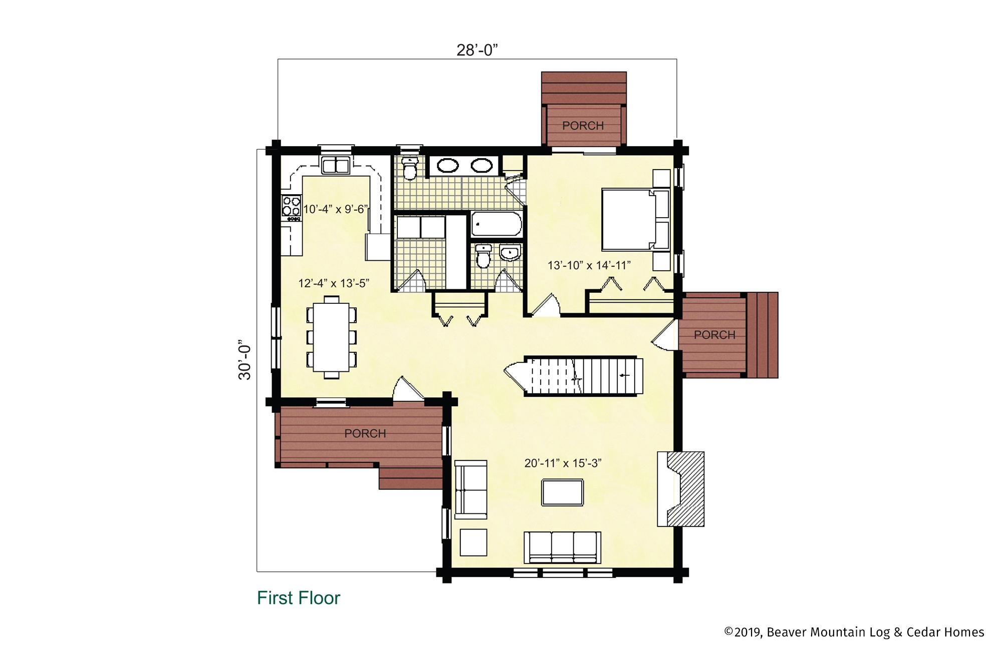 Beaver Mountain Log Homes Glens Falls Main Level Floor Plan