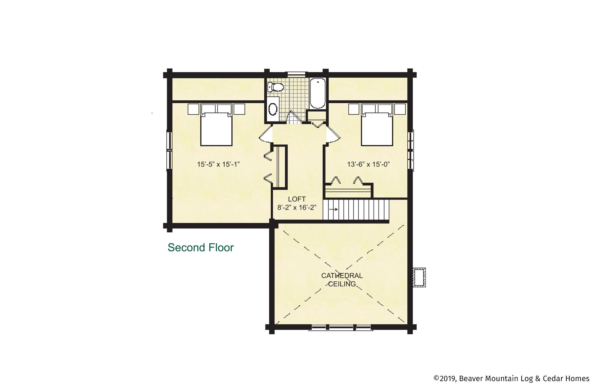 Beaver Mountain Log Homes Glens Falls Upper Level Floor Plan