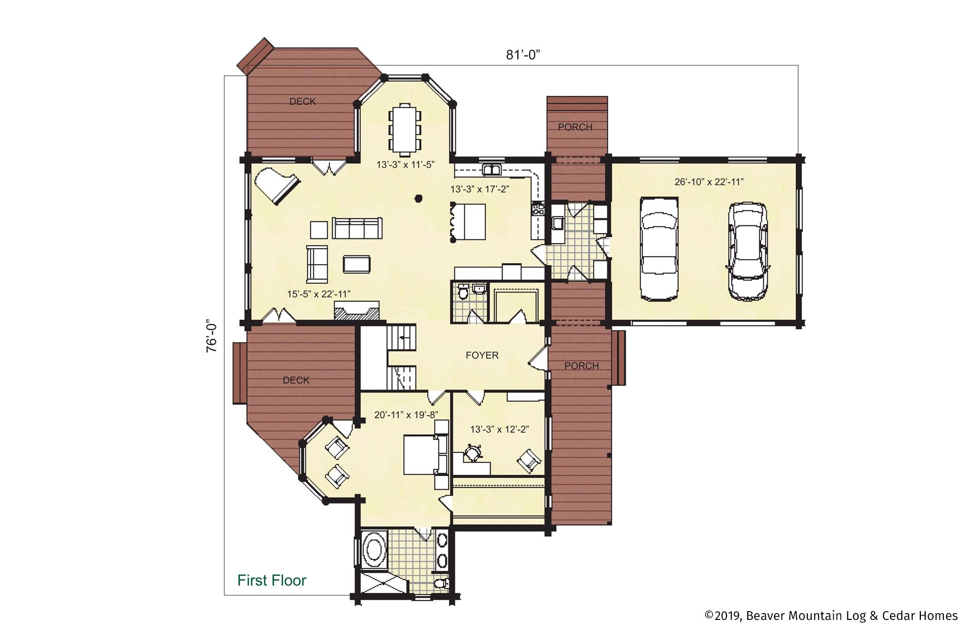 Beaver Mountain Log Homes Glimmerglass Main Level Floor Plan