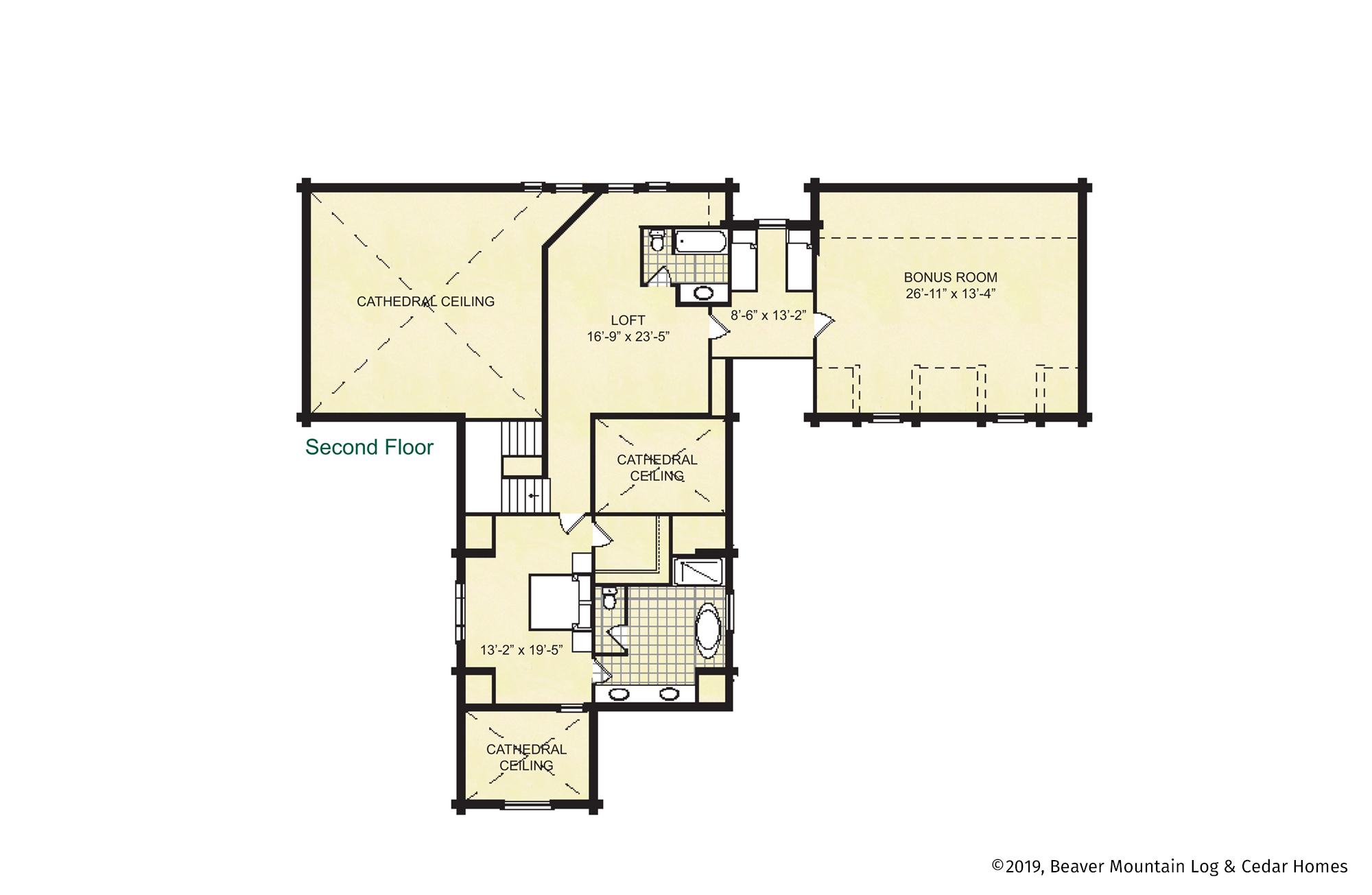 Beaver Mountain Log Homes Glimmerglass Upper Level Floor Plan