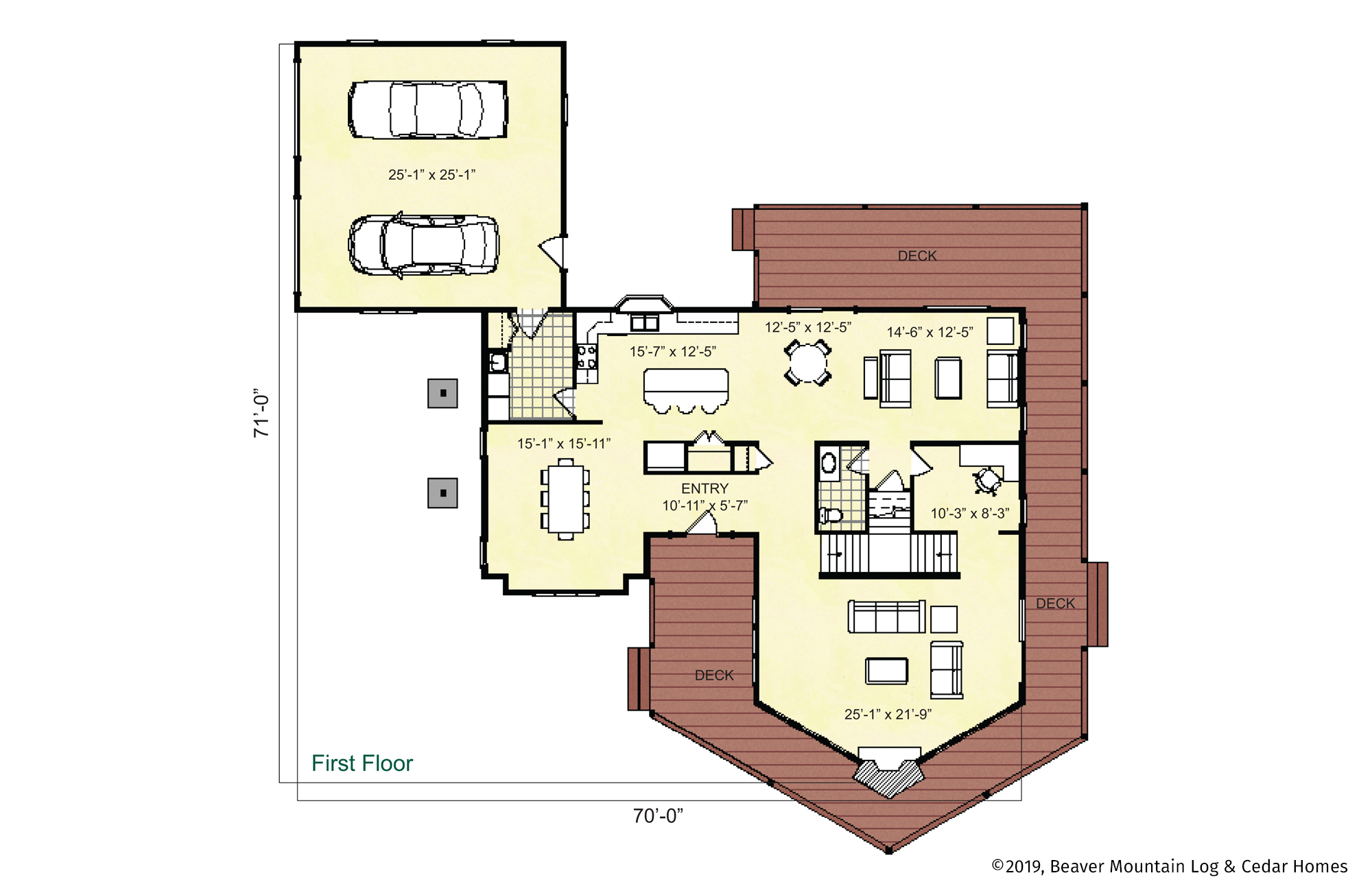 Beaver Mountain Log Homes Grand Gorge Main Level Floor Plan