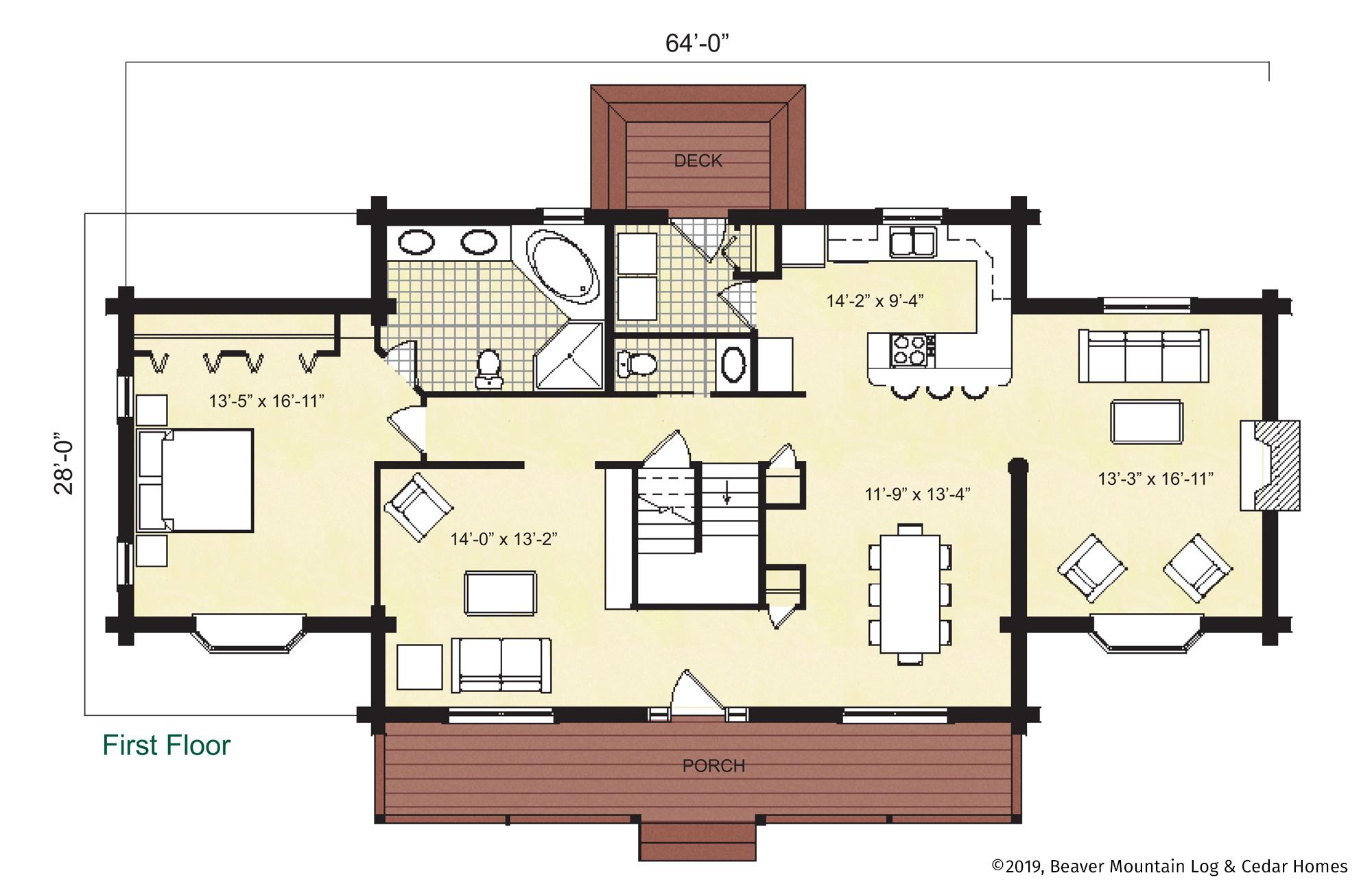 Beaver Mountain Log Homes Hawthorne Main Level Floor Plan