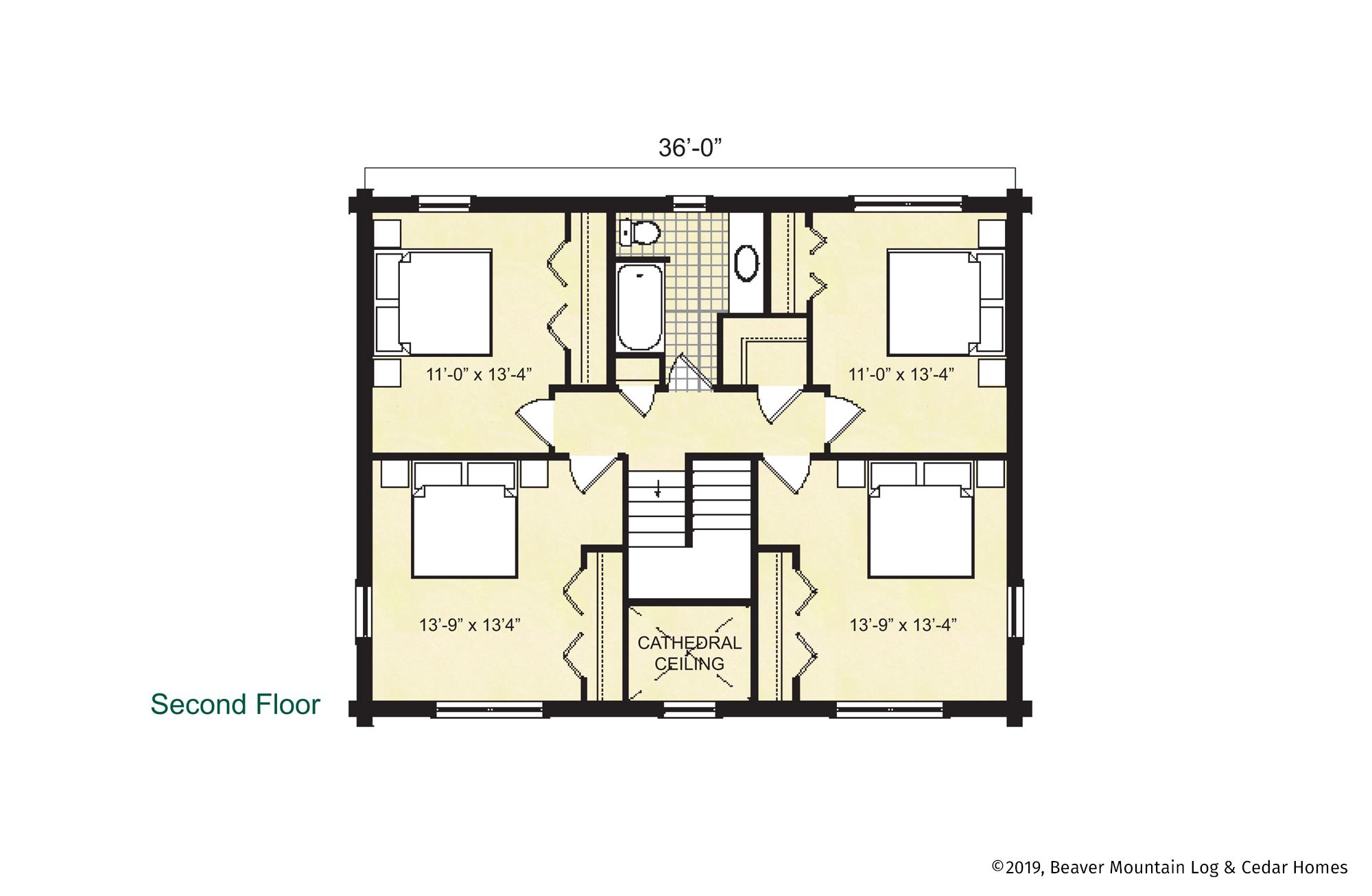 Beaver Mountain Log Homes Hawthorne Upper Level Floor Plan