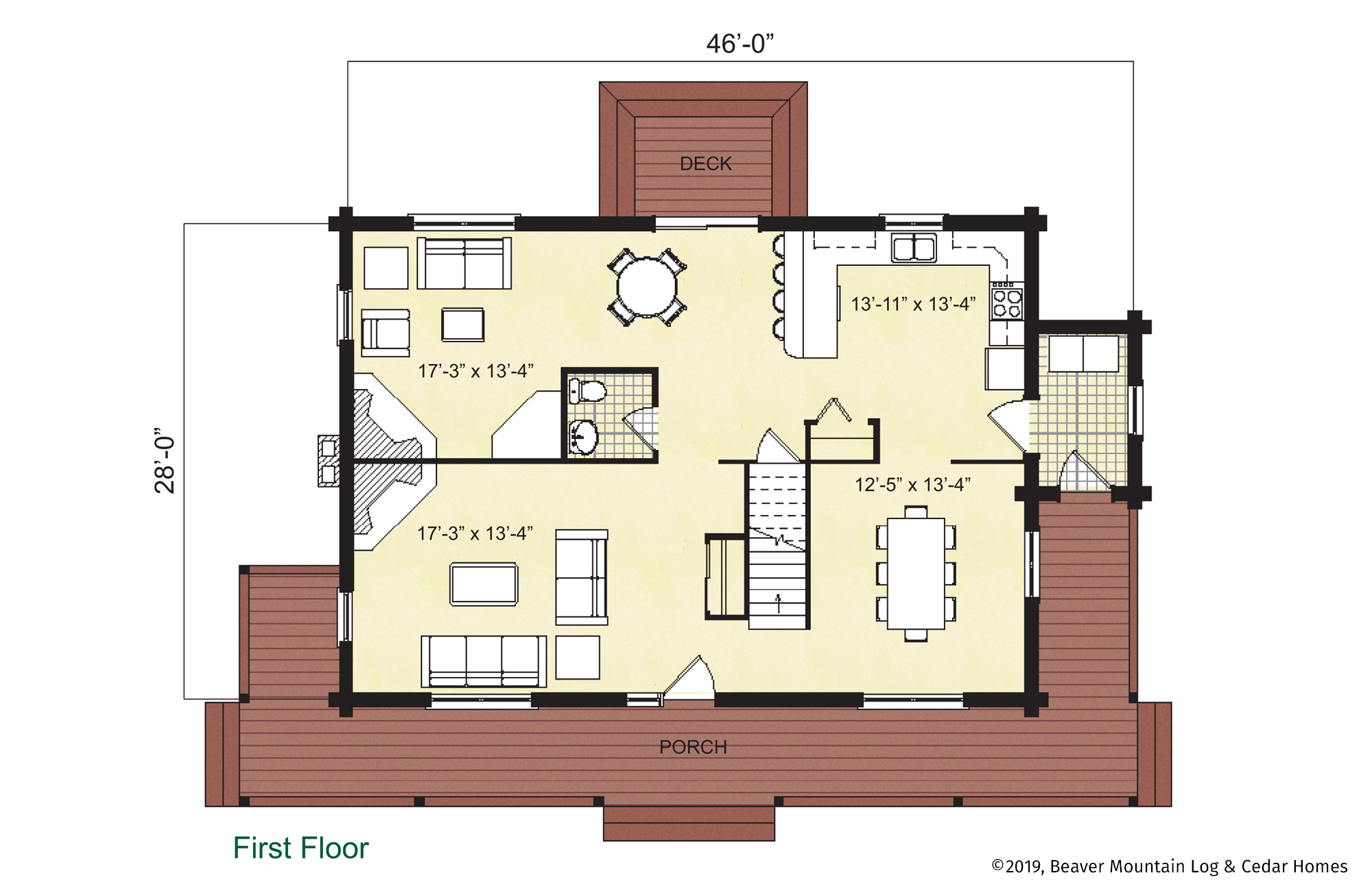 Beaver Mountain Log Homes Jefferson Main Level Floor Plan