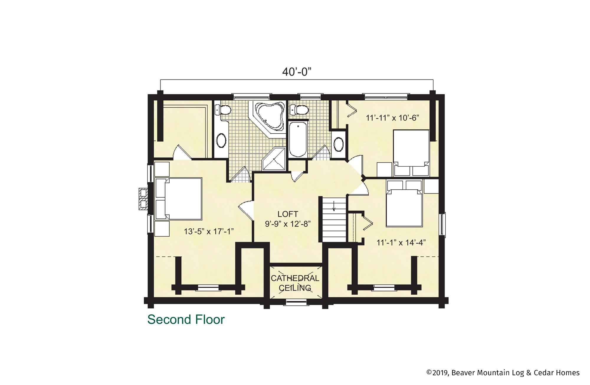 Beaver Mountain Log Homes Jefferson Upper Level Floor Plan