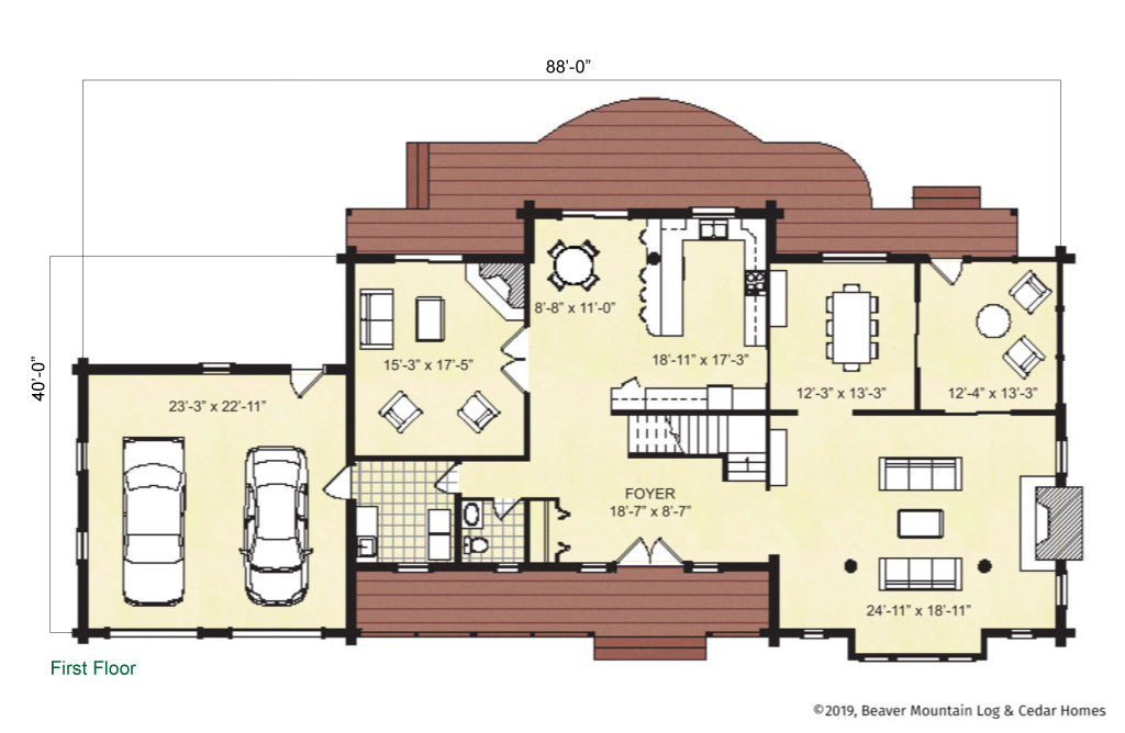 Beaver Mountain Log Homes Lake George Main Level Floor Plan