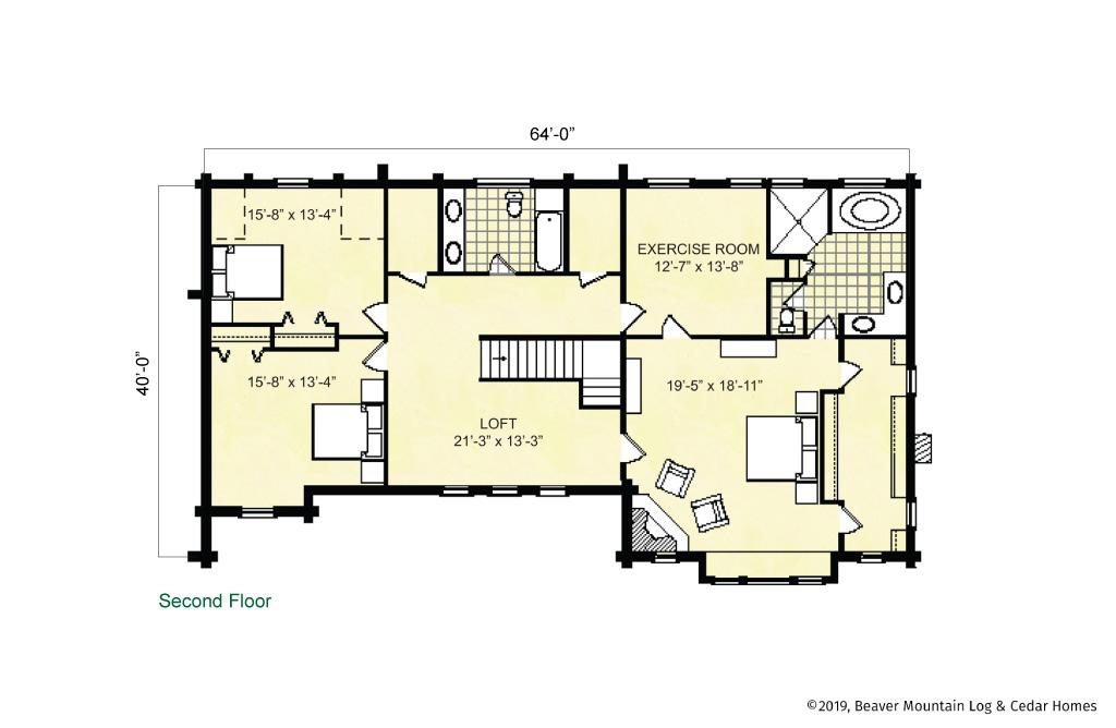 Beaver Mountain Log Homes Lake George Upper Level Floor Plan