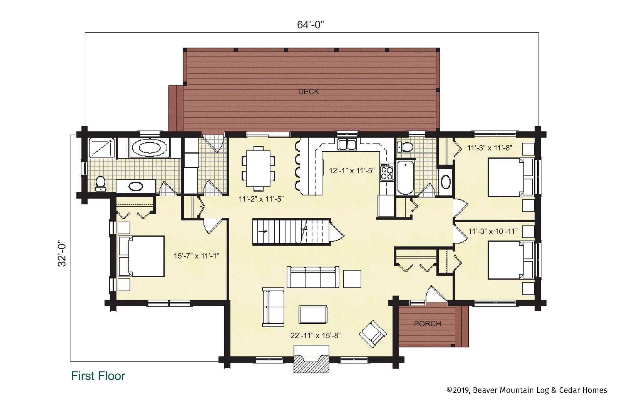 Beaver Mountain Log Homes Lexington Main Level Floor Plan