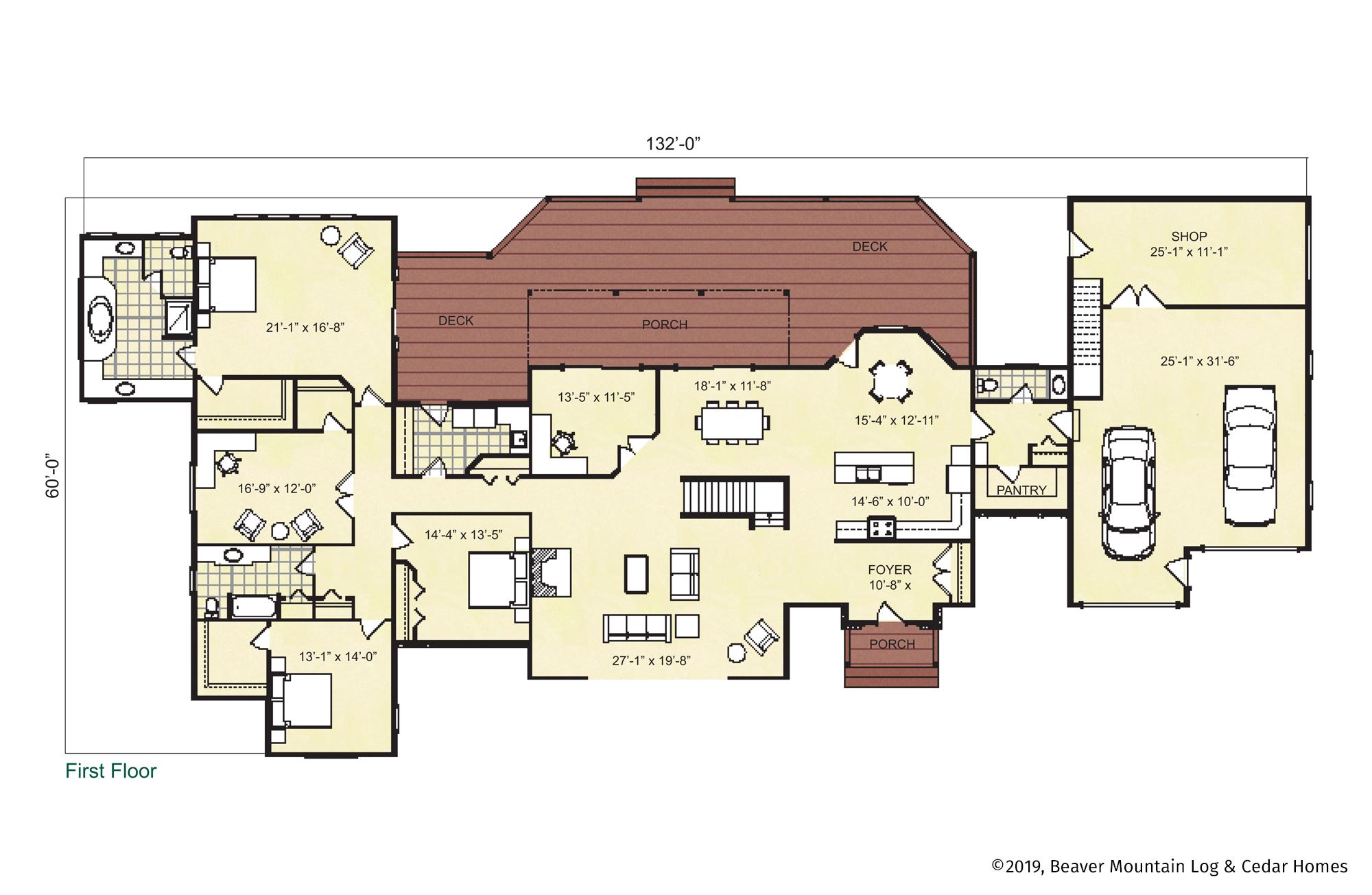 Beaver Mountain Log Homes Livingston Manor Main Level Floor Plan