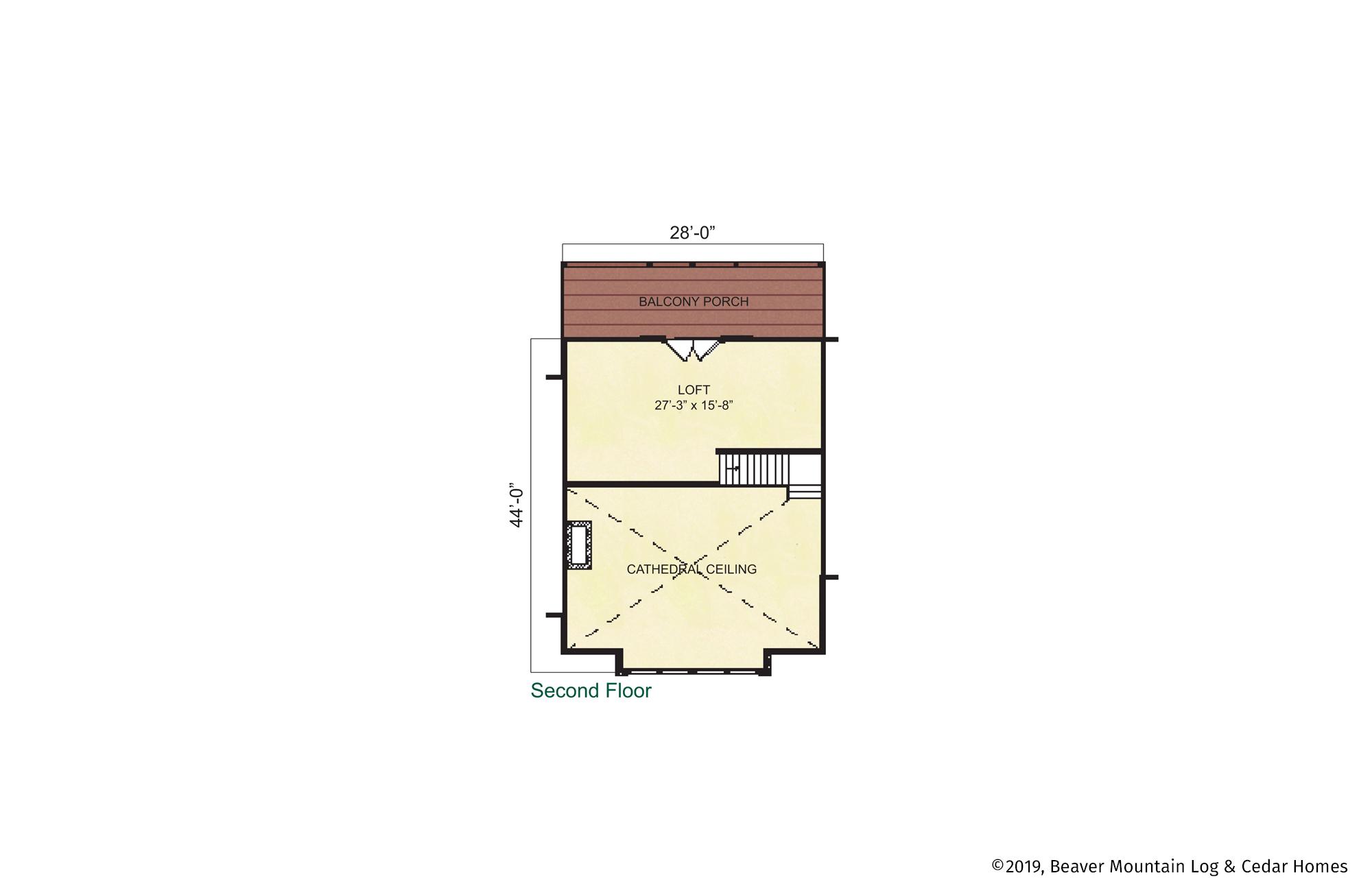 Beaver Mountain Log Homes Livingston Manor Upper Level Floor Plan