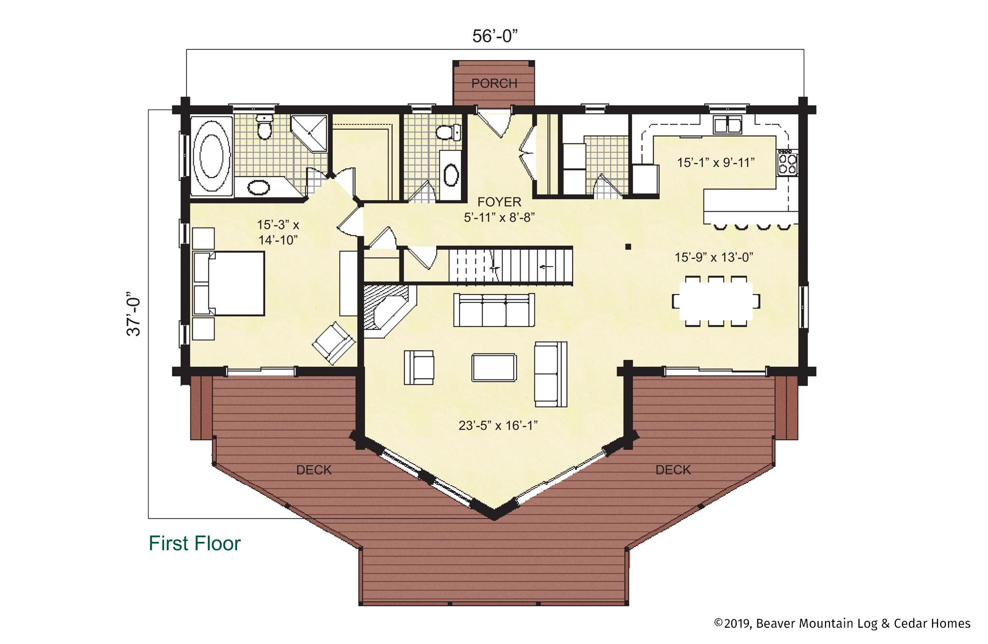 Beaver Mountain Log Homes Ouaquaga Main Level Floor Plan