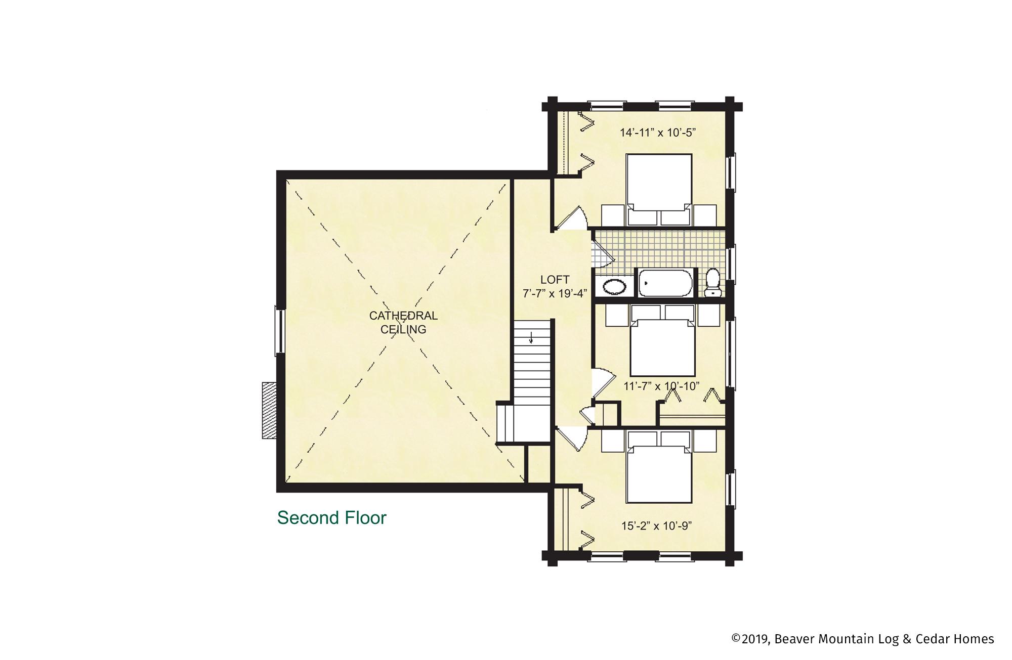 Beaver Mountain Log Homes Richmond Upper Level Floor Plan