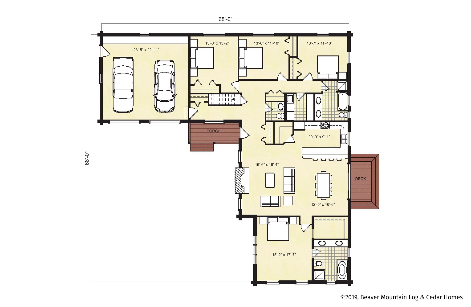 Beaver Mountain Log Homes Scottsdale Main Level Floor Plan