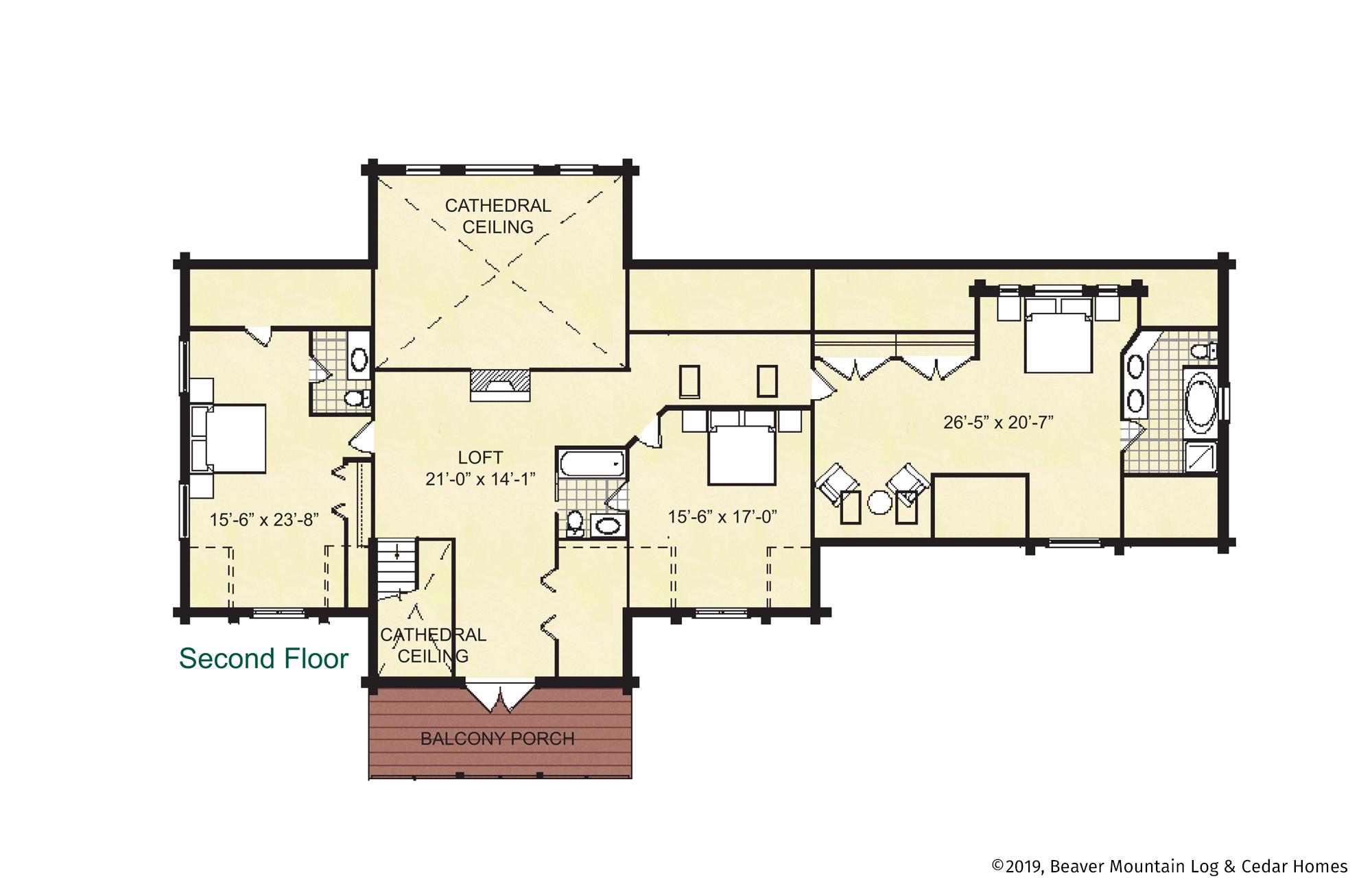 Skaneateles Log Home Second Floor Plan