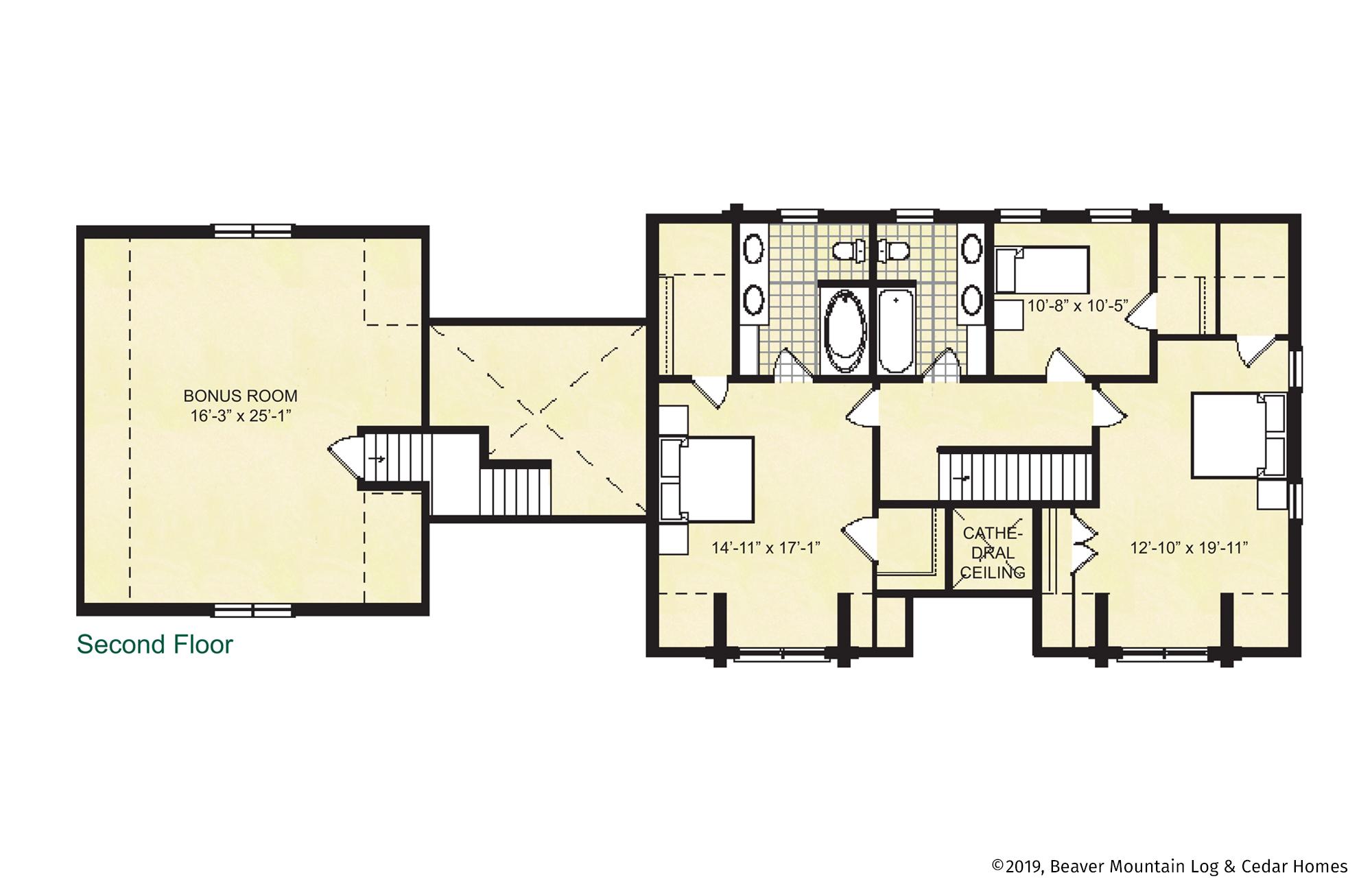 Beaver Mountain Log Homes Stony Brook Upper Level Floor Plan