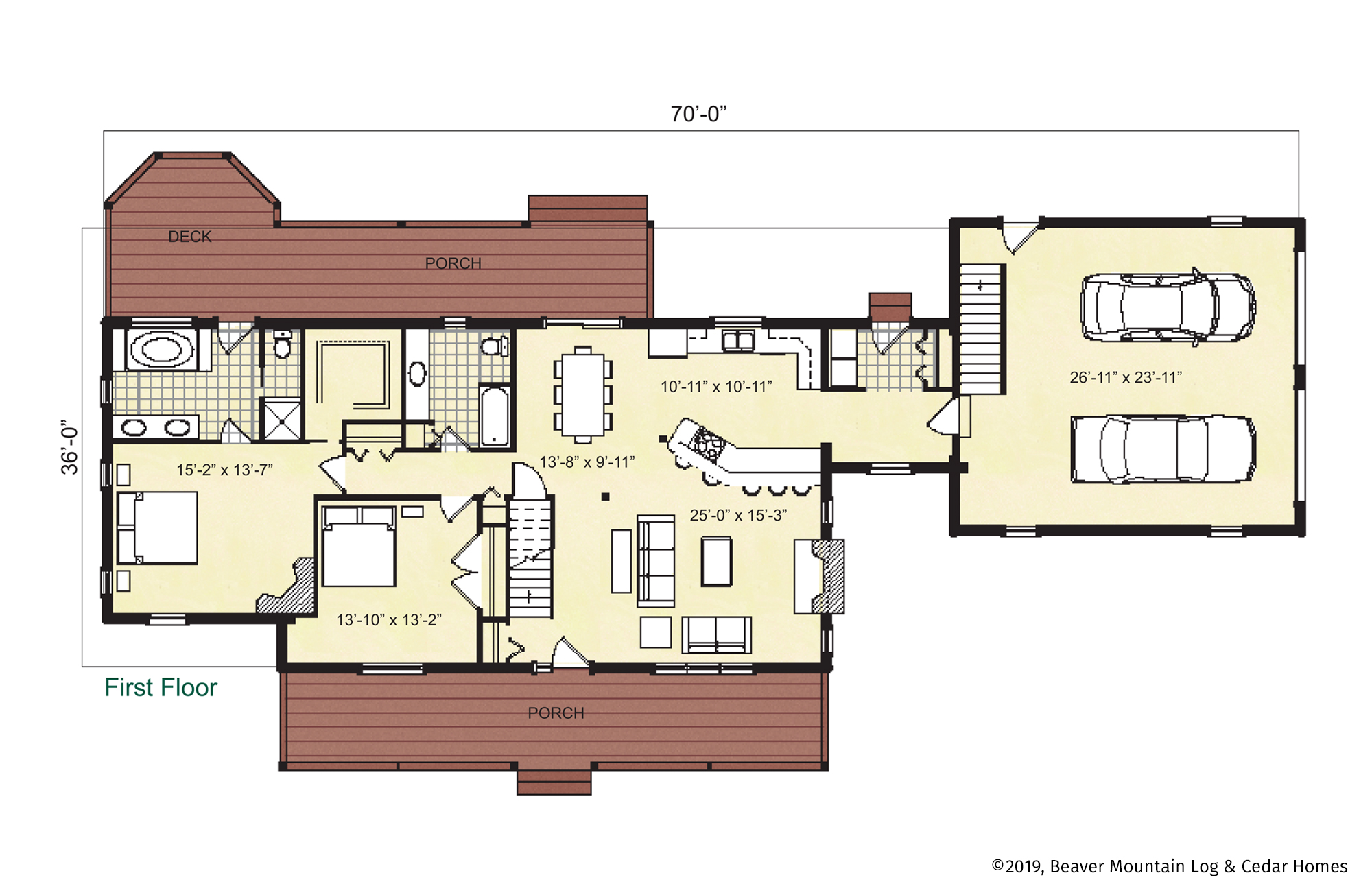 Beaver Mountain Log Homes Timber Ridge Main Level Floor Plan