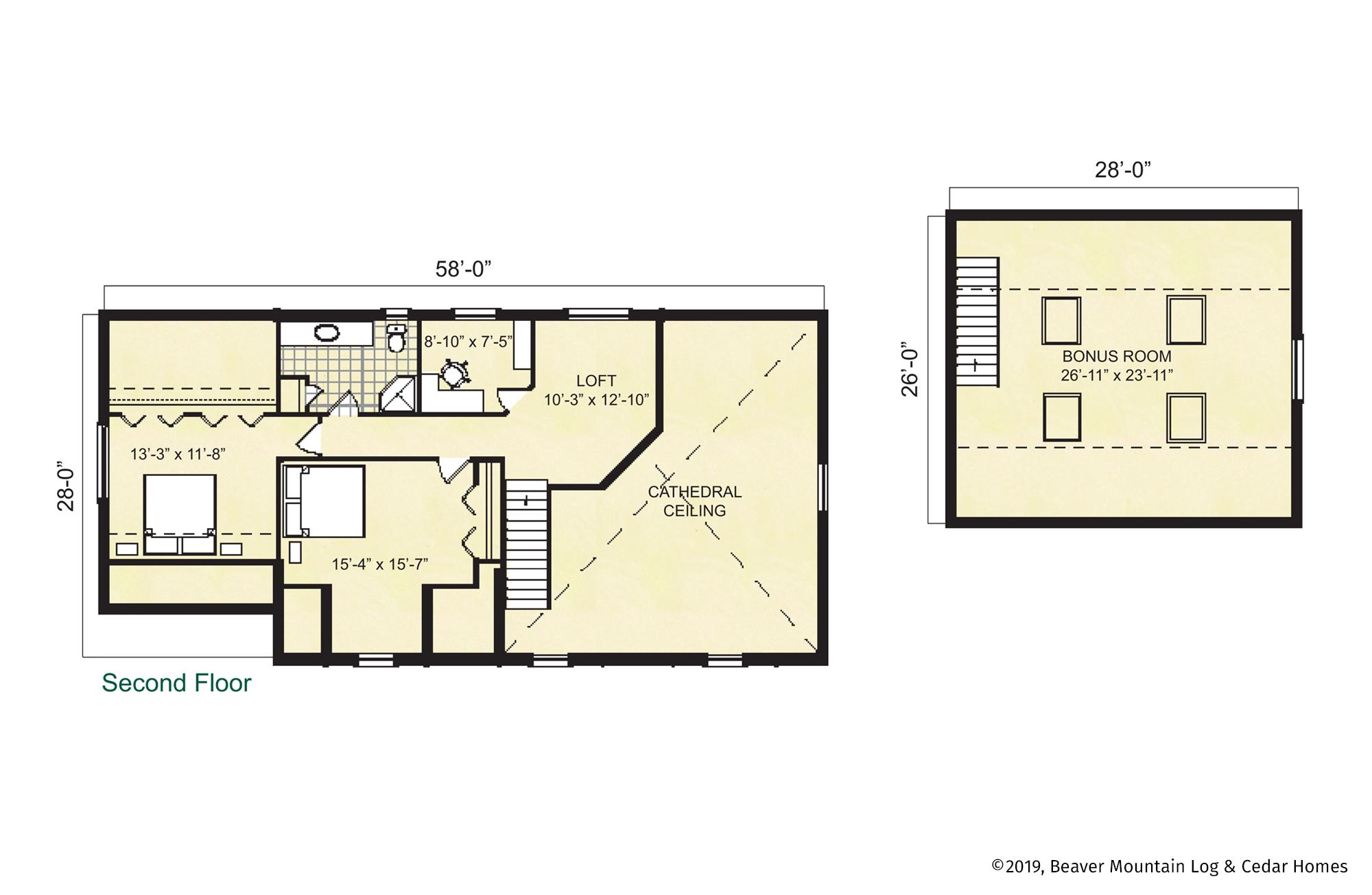 Beaver Mountain Log Homes Timber Ridge Upper Level Floor Plan