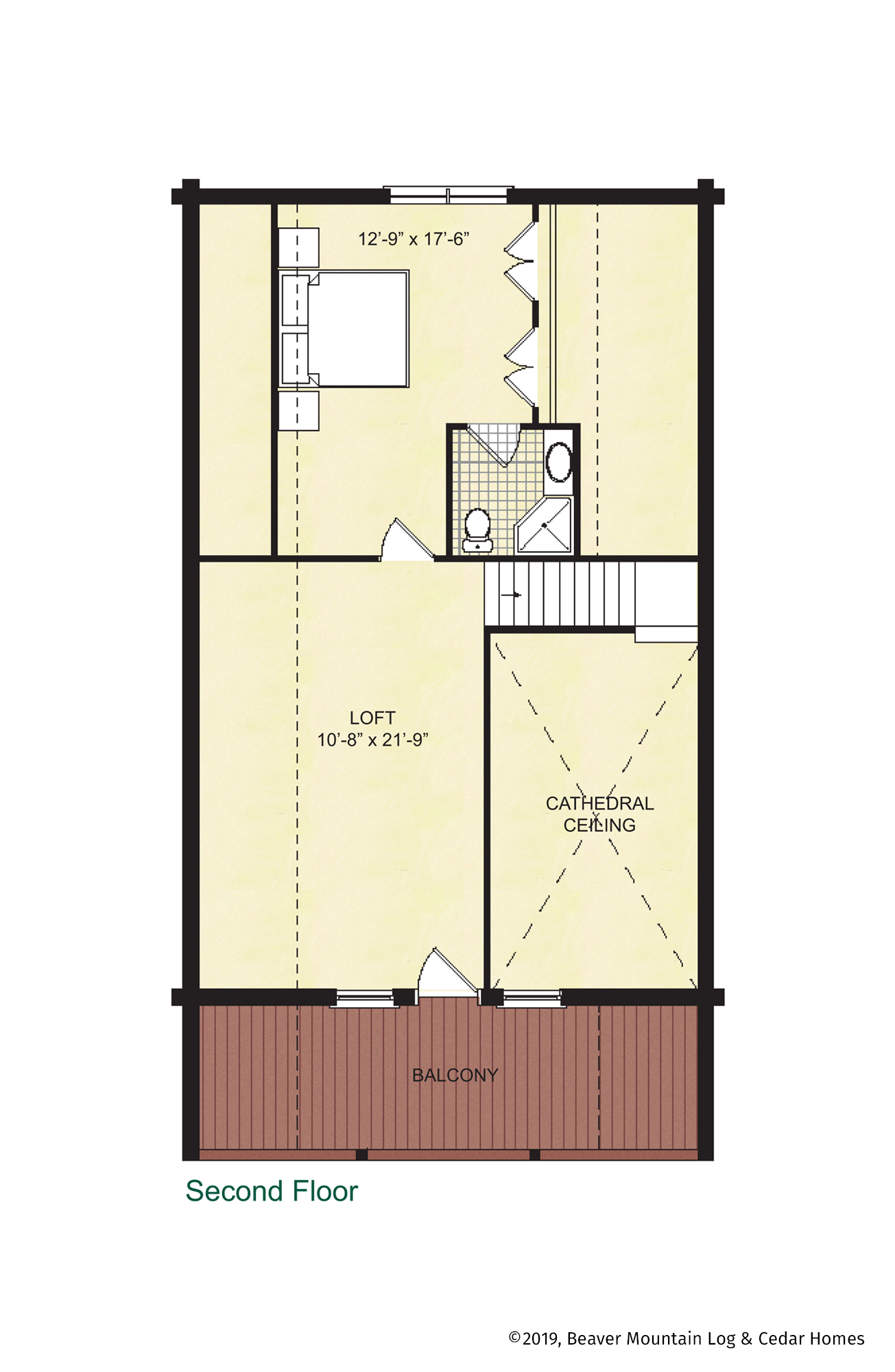 Beaver Mountain Log Homes Windemere Upper Level Floor Plan