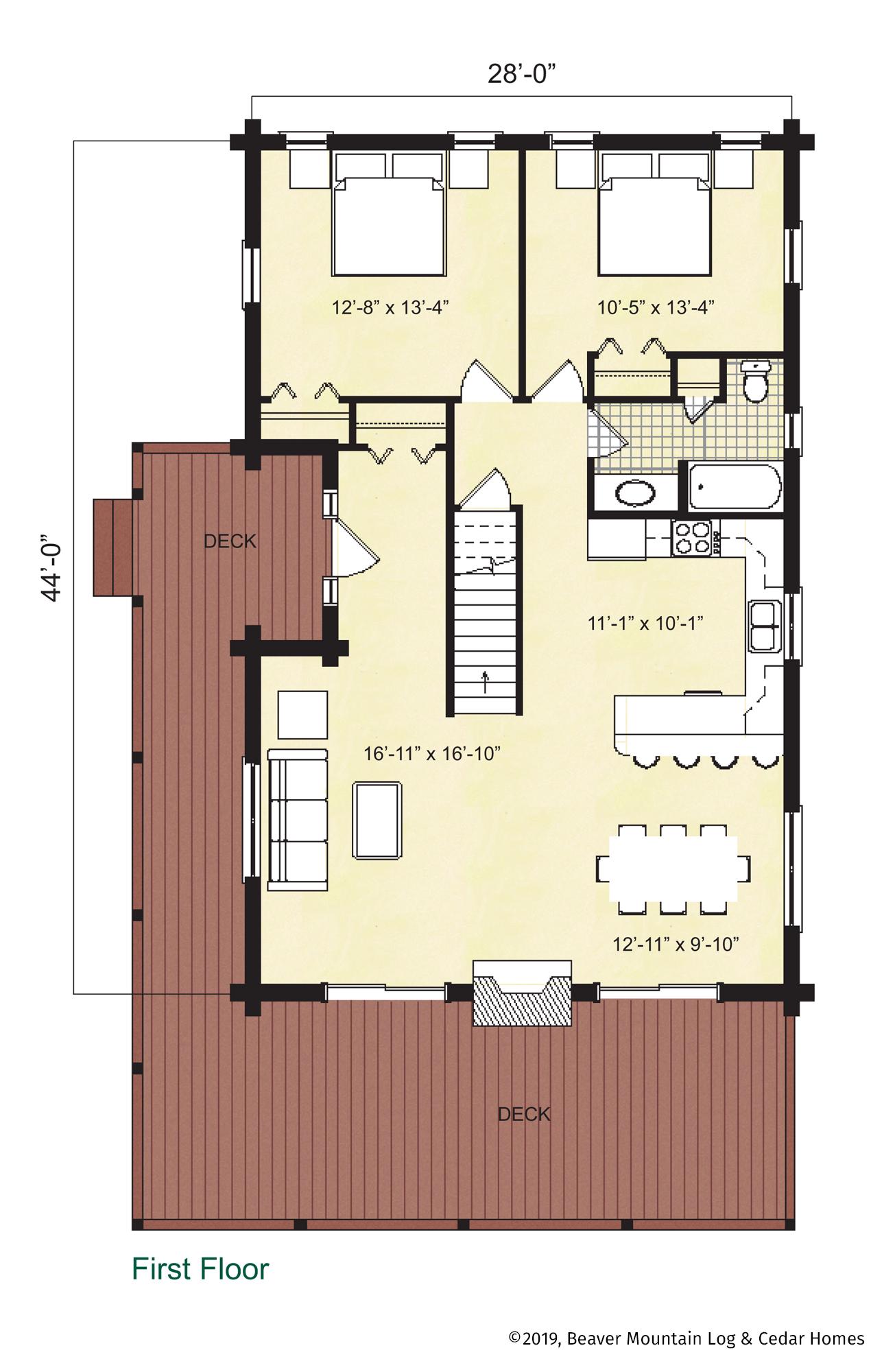 Beaver Mountain Log Homes Windham Main Level Floor Plan